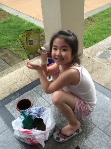 One of Jianna's prizes-Starting a garden