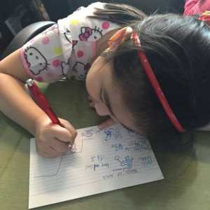 Using drawings for her reviewer